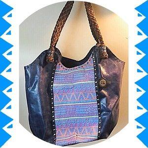 🆕 Bag-Hobo/Indio Navy Leather w/colorful print